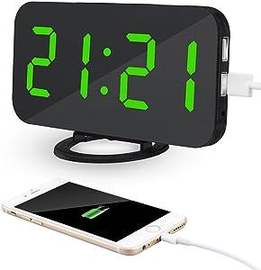 Kidsidol 2 en 1 creativo reloj de alarma digital LED dimmer diseño Smart Power Bank Brillo ajustable para Home Office Hotel con 2 puertos de carga USB y 1 puerto de cable de alimentación (Verde)