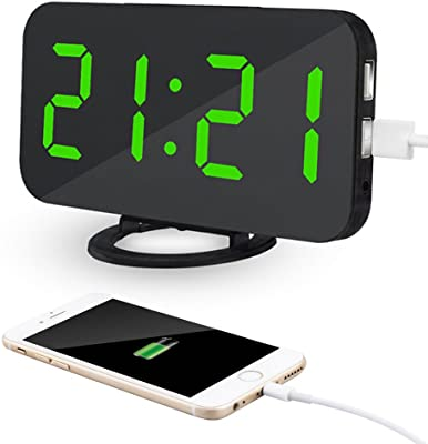 Kidsidol 2 en 1 creativo reloj de alarma digital LED dimmer diseño Smart Power Bank Brillo