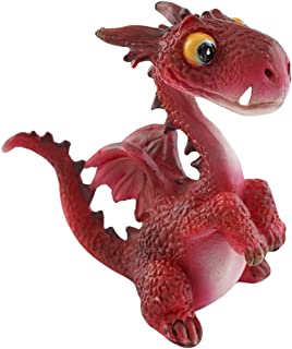 Top Collection Miniature Fairy Garden and Terrarium Mini Dragon Statue, Red