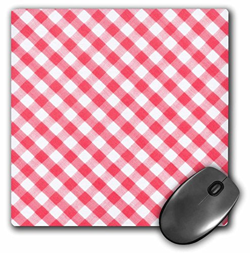 3Drose LLC 8 X 8 X 0.25 Inches Mouse Pad, Red and White Gingham Pattern Diagonal Checkered Checks Rustic Retro Country Cottage Dining Kitchen (Mp_113023_1)