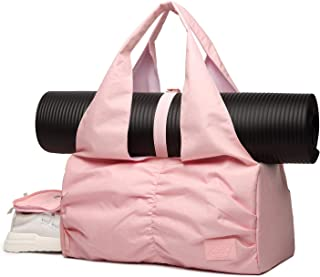 Travel Yoga Gym Bag for Women, Carrying Workout Gear, Makeup, and Accessories, Shoe Compartment and Wet Dry Storage Pockets, Large Sizes, Pink