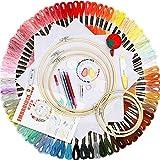 YTK Kit de bordado de punto de cruz con neumáticos de bambú, hilos, enhebrador de agujas para niños, adultos y principiantes