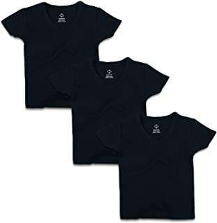OPAWO Infant Baby Short Sleeve V Neck T-Shirts for Unisex Boy Girl 3 Pack