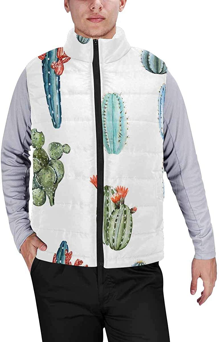 InterestPrint Men's Outdoor Casual Stand Collar Sleeveless Jacket Watercolor Skull