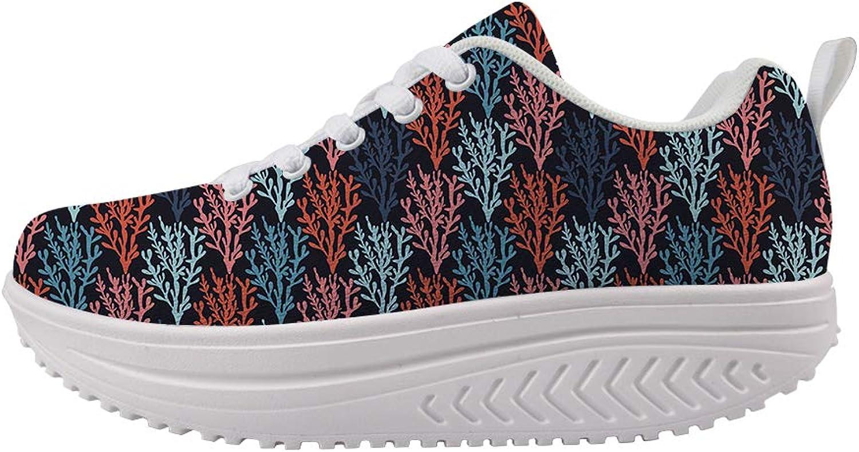 Owaheson Swing Platform Toning Fitness Casual Walking shoes Wedge Sneaker Women colorful Seaweed