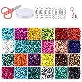 Cuentas de Colores 4mm Mini Cuentas y Abalorios Cristal para DIY Pulseras Collares Bisutería (24 Colores)