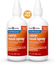 Basic Care Saline Nasal Spray Twin Pack, 6 Ounce