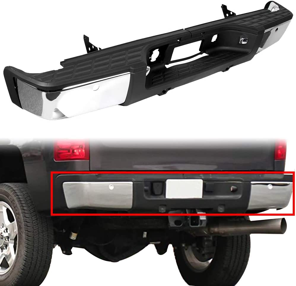 KUAFU Rear Step Bumper Assembly Compatible With 2007-2013 Chevy Silverado /& GMC Sierra 1500 NEW Steel Black Replacement For GM1103149/…