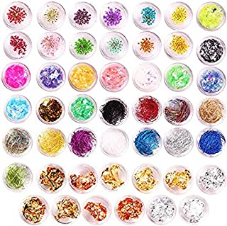 48 Boxes nail Design decal Stickers Kit with Nail Foil Glitter Flakes Dried Flowers Stickers Nail Strips Lines