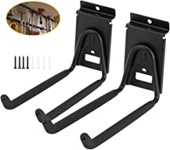 Slatwall Double Hooks, Heavy Duty Garage Storage Utility Tool Holder Bike Hanger Organizer for Bicycle Garden Hose Ladder and Folding Chairs (2 Pack, Black)