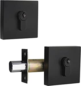 Square Contemporary Double Keyed Security Deadbolt with Adjustable Backset, Front Entry Door Lock, Double Keyed on Both Outside/Inside, Matte Black Finished