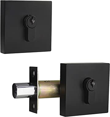 Square Contemporary Double Keyed Security Deadbolt with Adjustable Backset, Front Entry Door Lock, Double Keyed on Both Outsi