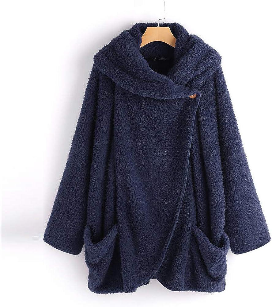 iHENGH Damen Herbst Winter Bequem Lässig Mode Jacke Frauen Winter Fleece Langarm Button Down Flanellhemd Bluse Strickjacke A Marine
