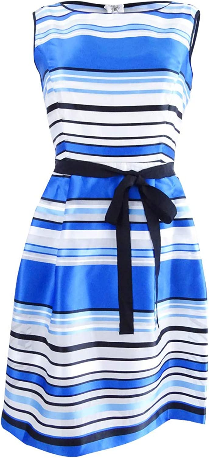 Ellen Tracy Womens Petites Striped Organza Party Dress