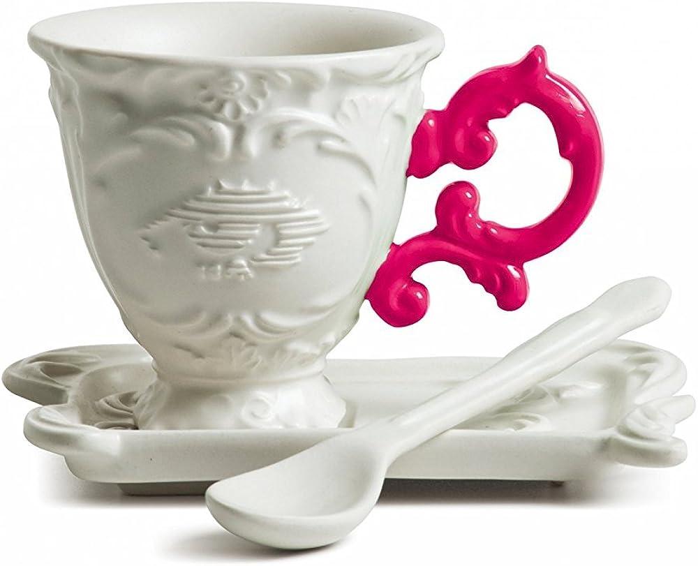 Seletti set da caffe`, in porcellana i-wares con manico fucsia 09859FUC