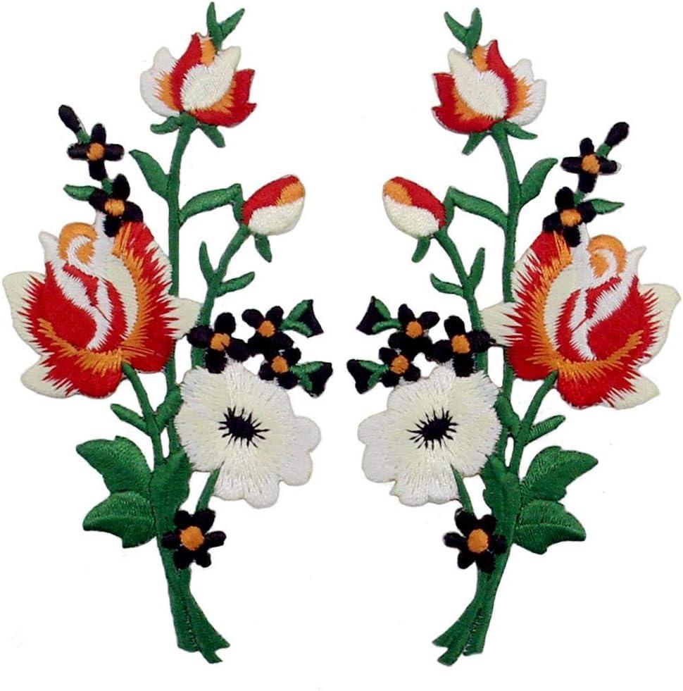 Parche termoadhesivo para la ropa, diseño de Ramo De Flores Boho, rojo blanco