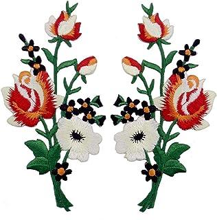 Toppa ricamata da applicare con ferro da stiro o cucitura, tema: Bouquet di fiori Boho, rosso bianco