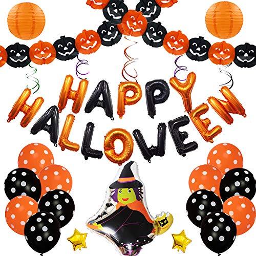 Lovejoy Store 1 Set Halloween-Folie Latex Ballon Dekorationen, Happy Halloween Folienballons Hexe Banner Laterne Festival Bar Home Party Decor, Mehrfarbig