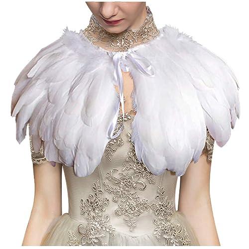 75f1ab68e1 L'vow Fashion Feather Cape Stole Black White Beige Shawl Iridescent