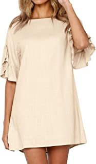 Mini Dresses, FORUU Womens Holiday Solid Horn Sleeve Ladies Summer Beach Party
