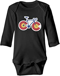 Colorado Flag Bicycle Baby Girls Long Sleeve Cotton Climbing Suit for 6-24M Baby