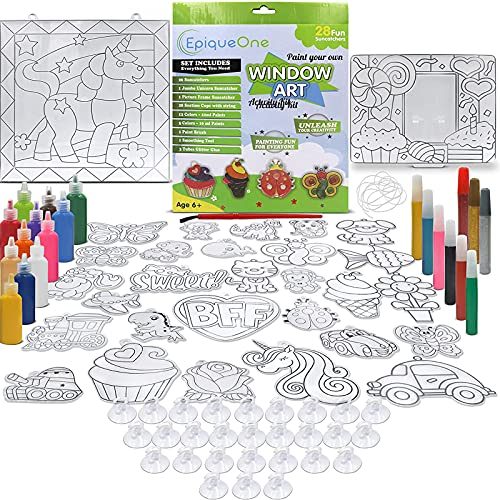 EPIQUEONE Paint Your Own Suncatchers Kit for Kids – Colorful DIY Stained Glass Window Kit – Arts and Crafts Activity – Includes 28 Pre-Made Suncatchers, Suction Cups, Paint and Glitter Glue