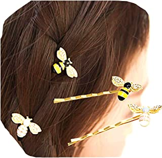 Cathercing 4 Pcs Honey Bumble Bee Hair Pins for Women Girls Bride Bee Barrettes Bobby Pin Hair Clips Headpiece Hair Access...