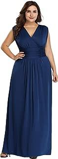 Women's Plus Size V-Neck Wrap Dress Long Formal Evening Dress 07661