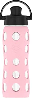 Lifefactory 22-Ounce BPA-Free Glass Water Bottle with Active Flip Cap and Protective Silicone Sleeve, Desert Rose