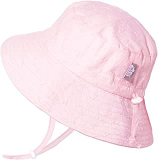 JAN & JUL 婴幼儿透气棉桶阳光*帽 50 UPF,可调节成长,可持久使用 Bucket Hat: Pink Eyelet L: 2-5Y