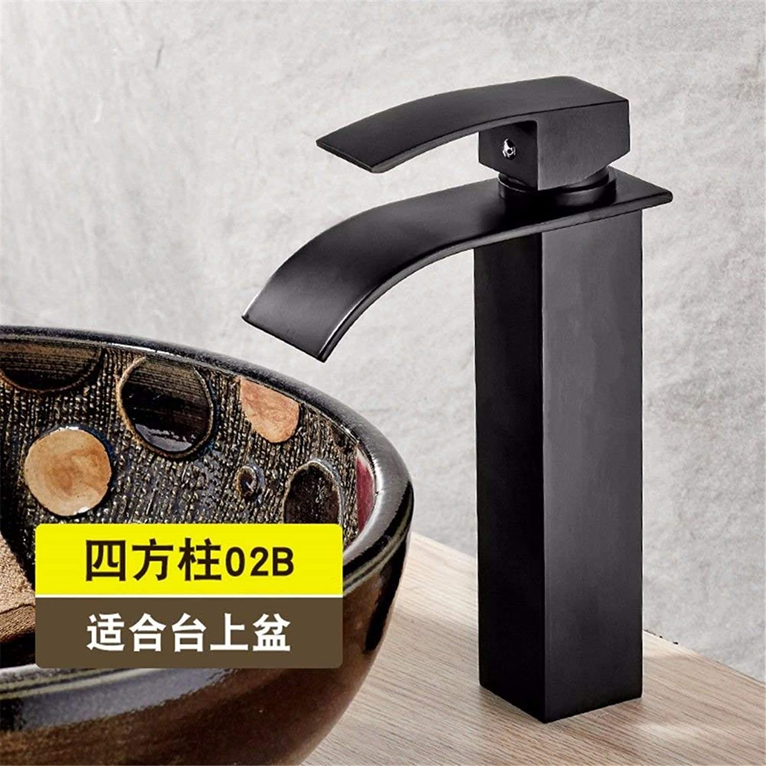 Oudan Bathroom Sink Basin Tap Brass Mixer Tap Washroom Mixer Faucet The black surface sink vanity area with hand wash basin waterfall faucet full copper hot and