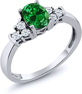 0.92 Ct Oval Green Simulated Emerald White Topaz 925 Sterling Silver Ring