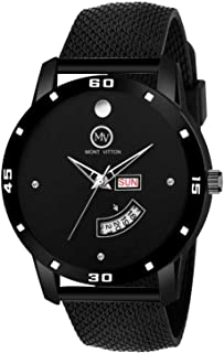 MontVitton Day and Date Functioning Black Quartz Watch for Boys - (LS2802)