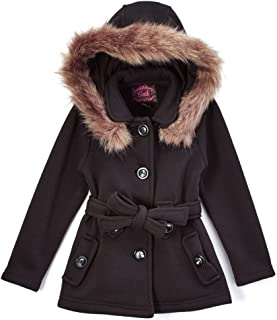 unik Girl Fleece Coat with Detachable Fur Lined Hood and Belt Black Fuchsia Grey Navy Red Burgundy