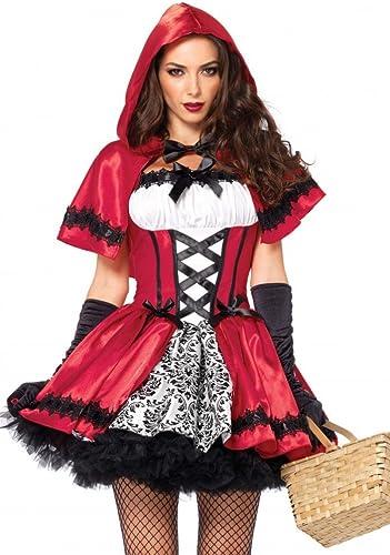 Leg Avenue Costume de Chaperon Rouge pour Femme Gothic rouge Riding Hood