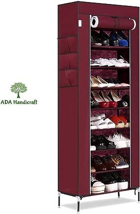 ADA Handicraft Shoerack Steel & Fabric Portable Multi Utility Shoe Rack - 9 Shelf Shoe Shelf Standing Storage Stackable Shoes Rack Organiser - Wine Red (Need to Be Assembled)