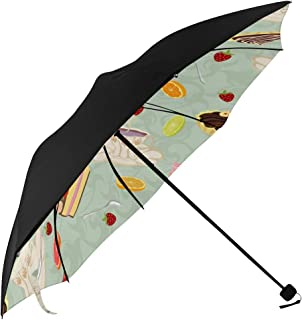 Teapot Vintage Art Design Tea Set Cup Art Hand Drawn Compact Travel Umbrella Parasol Anti Uv Foldable Umbrellas(underside Printing) As Best Present For Women Uv Protection