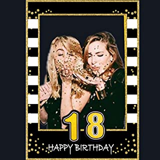 Glittery 18th Birthday Selfie Photo Booth Frame Black and Gold Birthday Party Photo Props - Upgraded Version with Support Cardboard