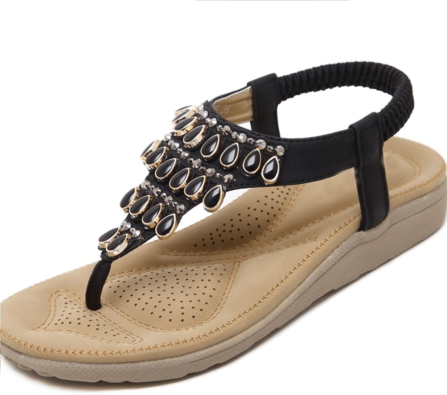 Women's New Korean Female Sandals Bohemian Rhinestone Flat shoes Summer Beach shoes Fashion Indoor and Outdoor Non-Slip Bathrobe Slippers XIAOQI
