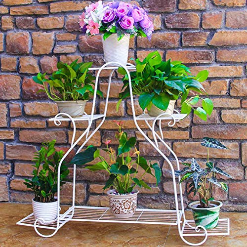 LRW ijzeren bloemenframe, wit multi-bodem-bloempot tandstangen-ruimte, binnen- en woonkamer-balkon buitenshuis, bloemen-tandstang