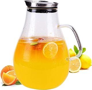 Jarra de vidrio de 2,5 litros con tapa, jarras de té de