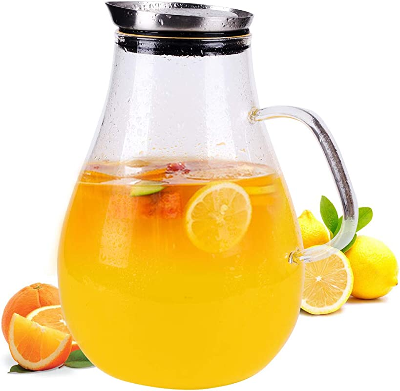 2 5 Liter Glass Pitcher With Lid 3 5 Gallon Ice Tea Pitchers 2 6 Quart Glass Water Jug Carafe With Handle For Boiling Liquid Hot Cold Tea Juice