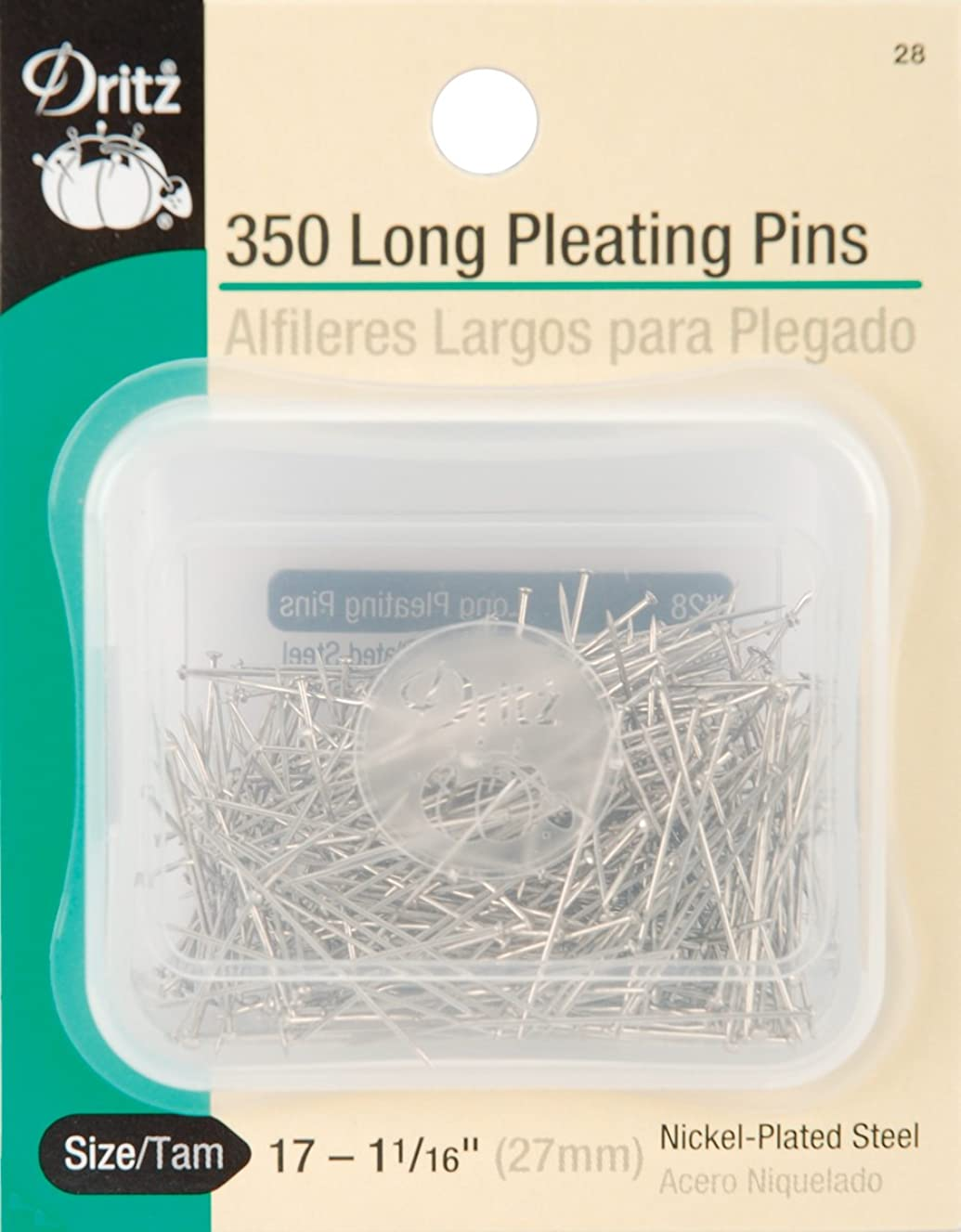 Dritz 28 Pleating Pins, Long, 1-1/16-Inch (350-Count)