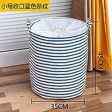 Laundry Basket Cotton Linen Dirty Clothes Basket Toys Debris Snack Storage Basket, Small Closed Mouth Blue Stripes