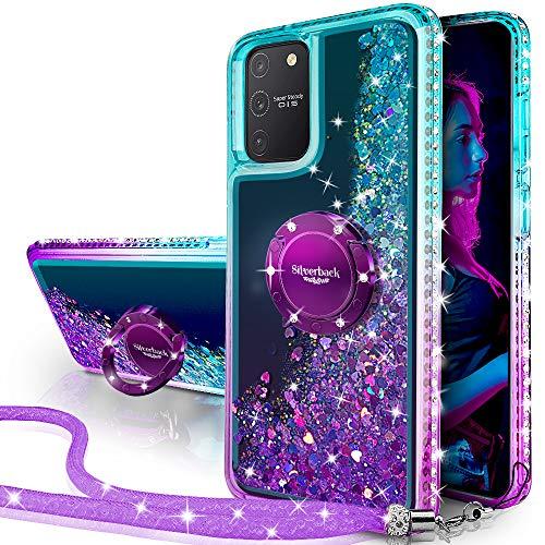 Miss Arts Galaxy S10 Lite/A91 Hülle,[Silverback] Mädchen Glitzern Handyhülle hülle mit Ringständer, Cover Silikon Flüssigkeit Clear Schutzhülle für Samsung Galaxy S10 Lite/A91 -LILA