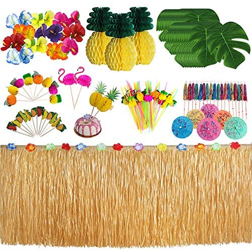Migaven 124 Piezas de decoración de Mesa de Fiesta Temática Hawaiana, Falda de Mesa de Hierba y Hojas de Palmera Artificiales, Piñas, Flores, Palillos de Dientes, Suministros de decoración de Mesa