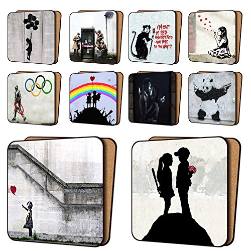 Banksy Coasters Mix1-10 New, Balloon Girl Hope, AYNIL All You Need is Love & More - Dinnerware Coaster Sets 11cm x 11cm