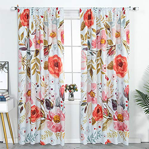 YoKii Boho Floral Blackout Curtains for Bedroom 84-Inch, White Shabby Chic Room Darkening Thermal Insulated Window Curtain Panels Draperies Vintage Flower Patterned (Pairs - 52W x 84L, Blush)