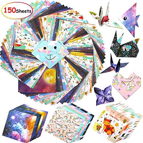 150 Papel de Origami, Cartulina de vívido Colores con Hermosos Estampados, Cuadrado Papel Plegable Doble Cara Papel papiroflexia para niños y Adultos, DIY Proyectos de Artes y Manualidades 15x15cm