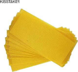 KISSTAKER 15PCS Bee Honey Sheets Beehive Wax Foundation Beekeeping Equipment Bee Comb Honey Frame